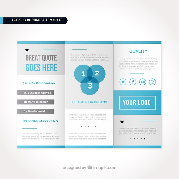 Business Flyer Template With Blue Elements Vector Free Download