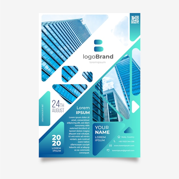 Business flyer template with buildings Free Vector