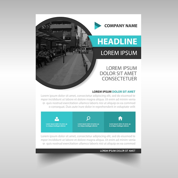 business flyer template with circular shape vector free