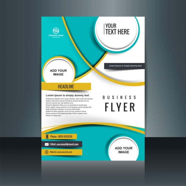 Business flyer template with circular shapes vector free for Free business brochure templates download