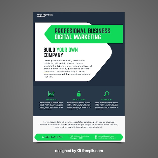 business flyer template with elegant style vector free download