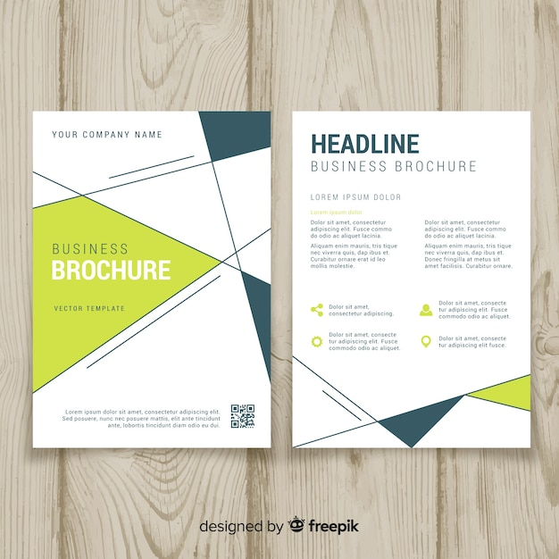 Business flyer template with geometric design Free Vector