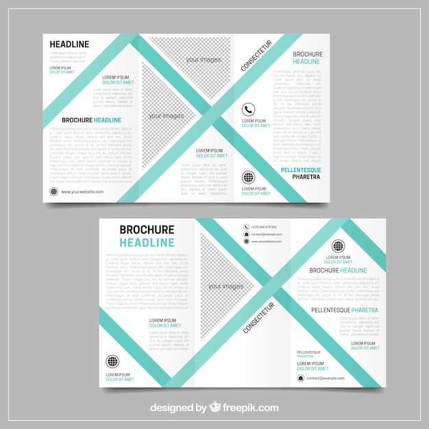 Business flyer template with geometric green lines
