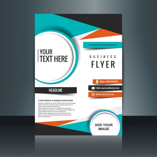 Business flyer template with geometric shapes vector for Free brochure template downloads