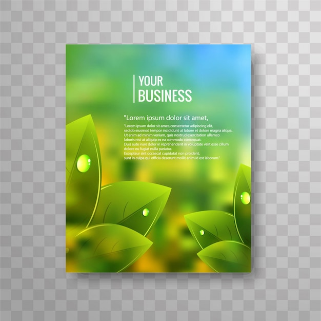 Business Flyer Template With Green Leaves Vector | Premium Download