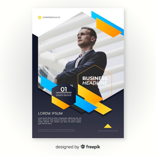 Business flyer template with image Free Vector