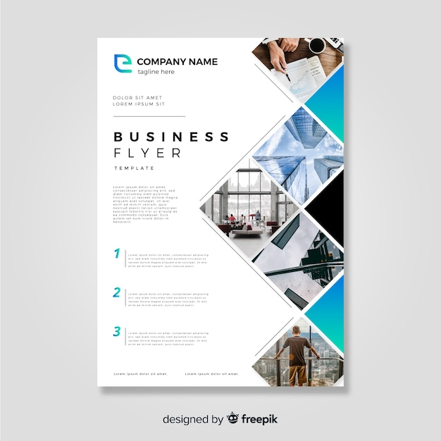 Business flyer template with modern style Free Vector