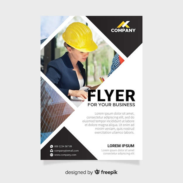 Business flyer template with mosaic pictures Free Vector