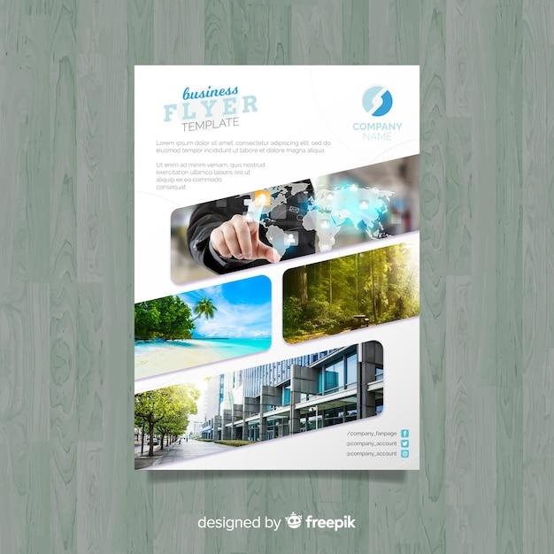 モザイク写真付きビジネスフライヤーテンプレート 無料ベクター