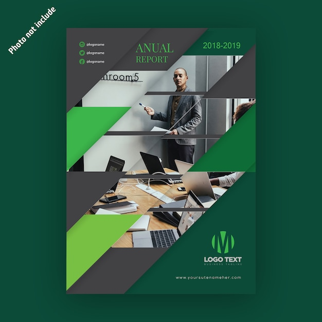 Business flyer template with mosaic pictures Premium Vector