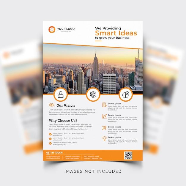 Modello di volantino aziendale con dettagli arancioni Vettore gratuito