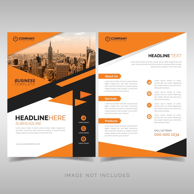 Business flyer template with orange geometric style Premium Vector