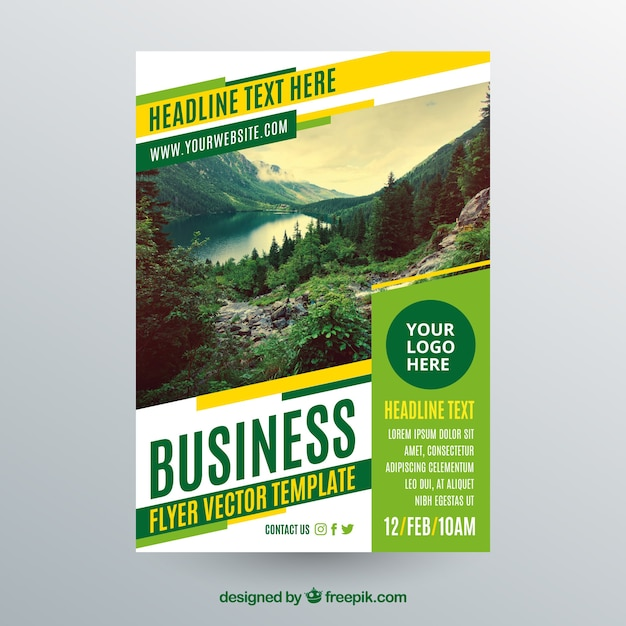 Business flyer template with photo of landscape Free Vector