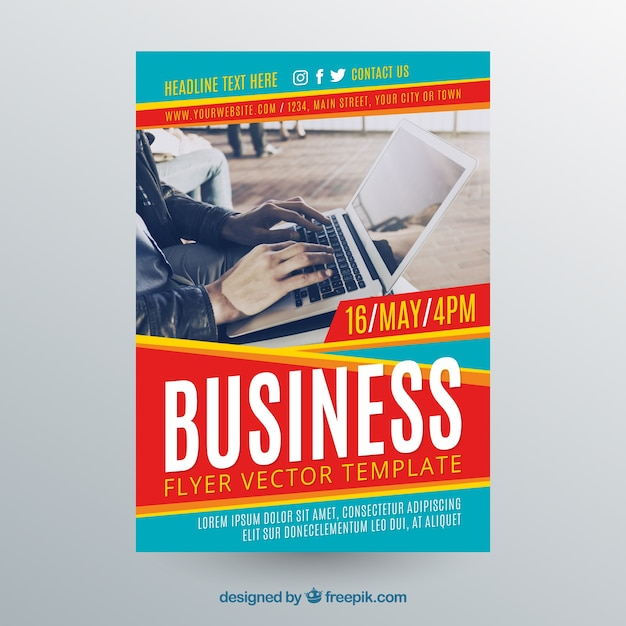 Business flyer template with photo of laptop Free Vector