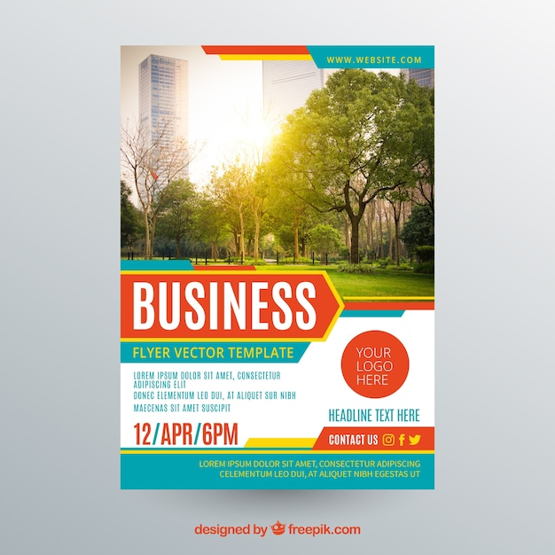Business flyer template with photo of trees Free Vector