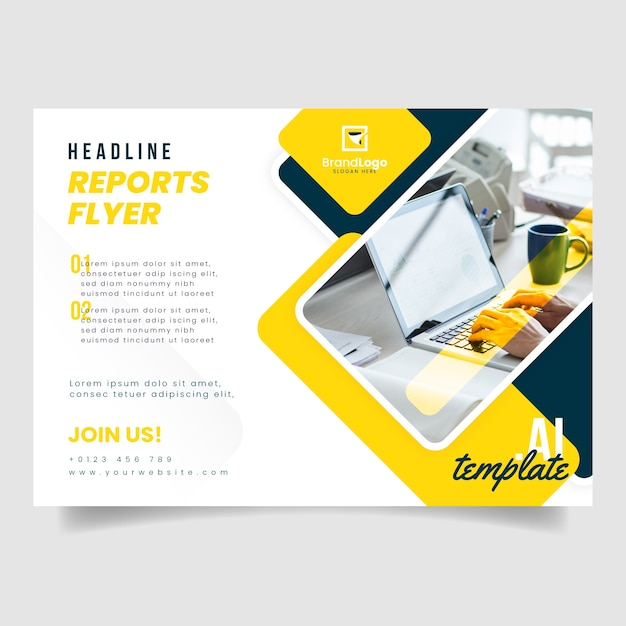 Business flyer template with photo of person working on laptop Free Vector