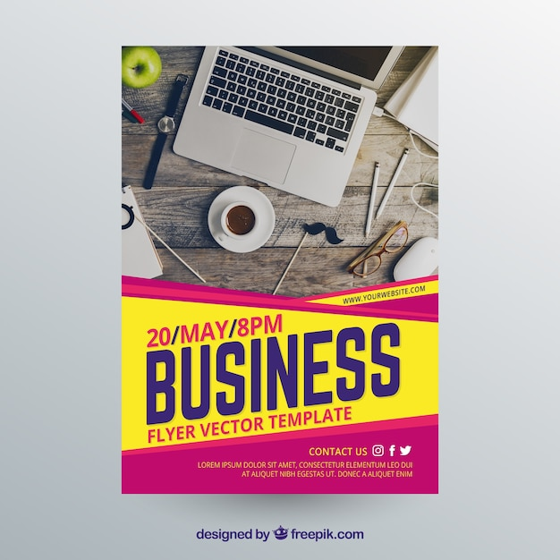 Business flyer template with photo of workspace Free Vector