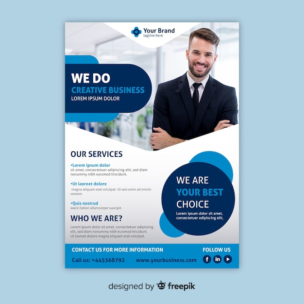 Business Flyer Template With Photo Vector Free Download