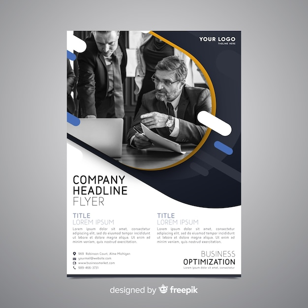 Business Dashboard Flyer Free Download: Business Flyer Template With Photo Vector