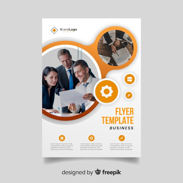 Business flyer template with photo Free Vector