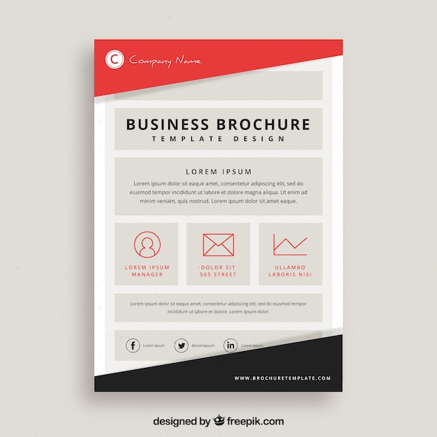 Business Flyer Template With Red And Black Shapes Vector  Free Download