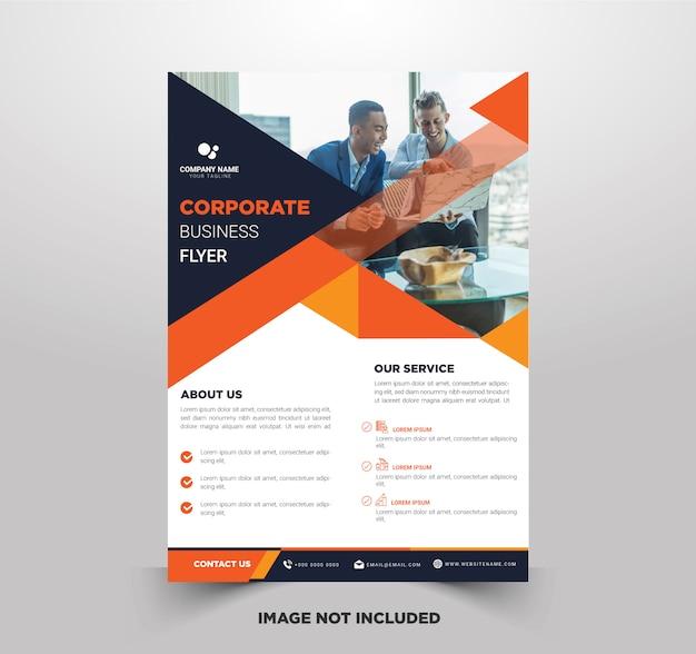Бизнес флаеры с оранжевыми комбинациями цветов Premium векторы
