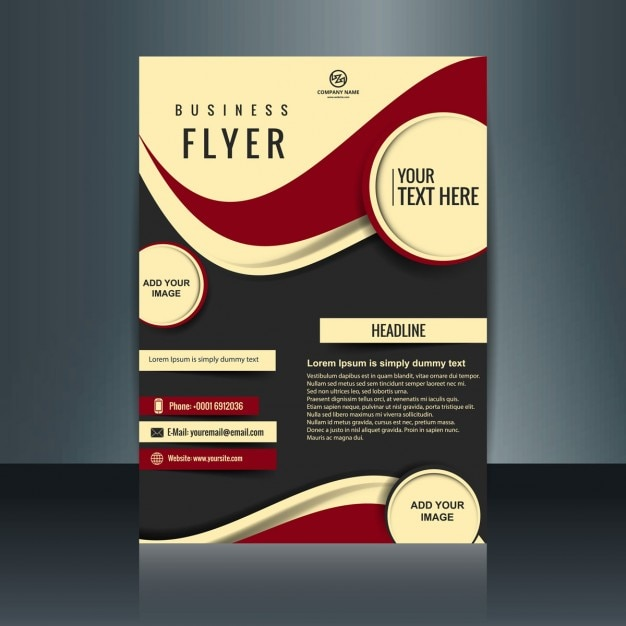 Business flyer with circles and red waves vector free download for Business flyer psd