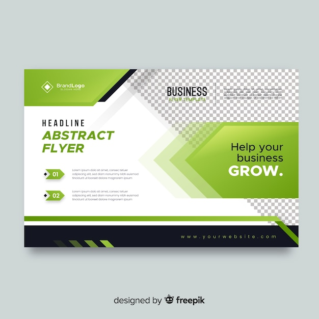 Business flyer with green elements Free Vector
