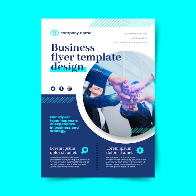 Business flyer with people in office suits gathered together Free Vector