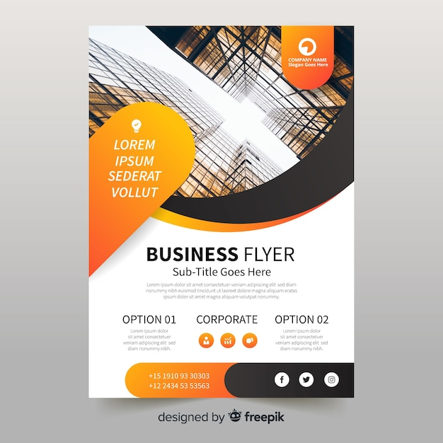 Business flyer with photo template Free Vector