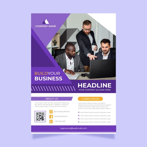 Business flyer with photo Free Vector