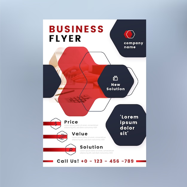 Business flyer with shapes and photo Free Vector