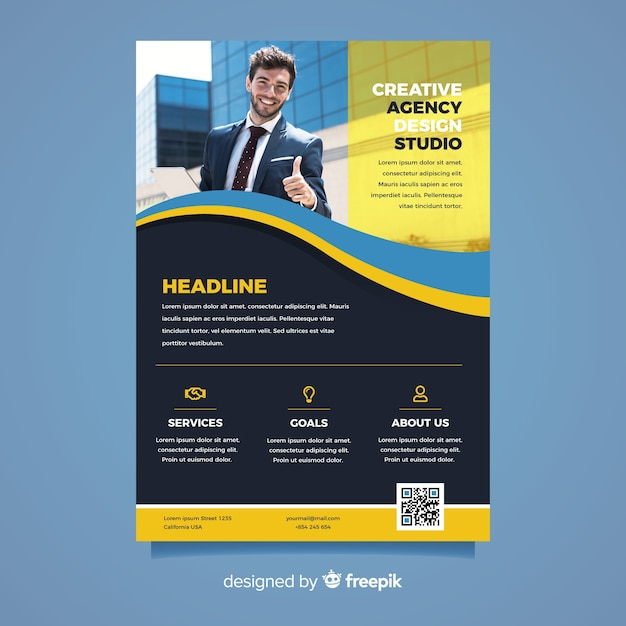 Business flyer with successful man Free Vector
