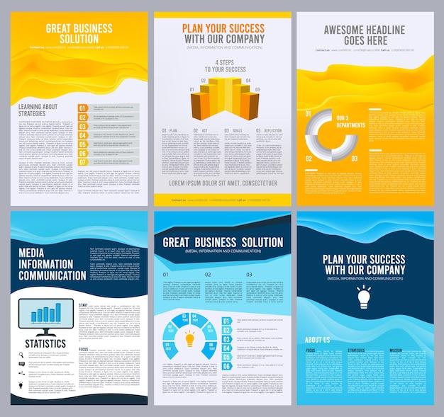 ビジネスチラシ。企業パンフレットの小冊子ページレイアウトデザイン。企業のビジネス小冊子、雑誌プレゼンテーションテンプレートイラスト Premiumベクター