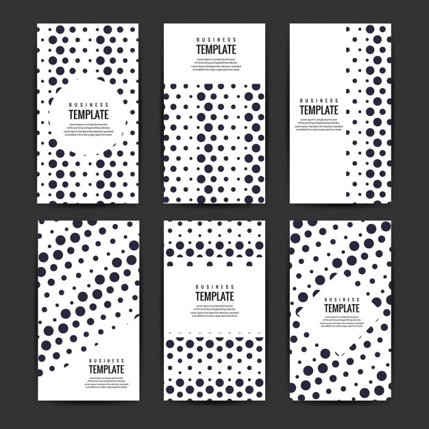 Business Flyers Template Set With Black Circles Vector Free Download