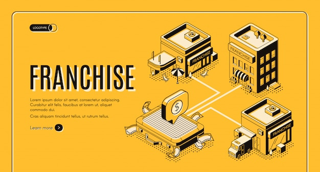 Business franchise isometric vector web banner, landing page. Free Vector