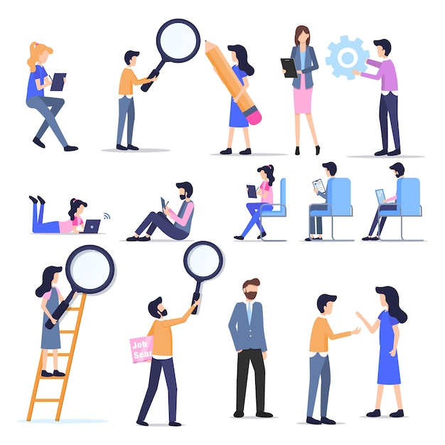 Business freelance people casual character set Premium Vector