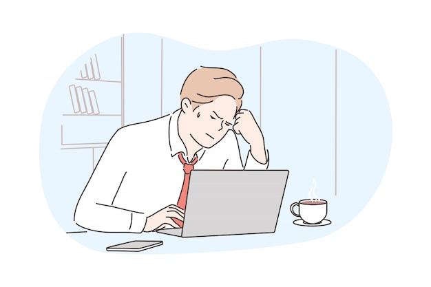 Business, frustration, mental stress, depression, work concept Premium Vector