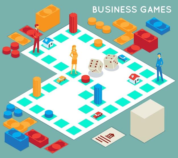 Деловая игра. соревнование на успех, настольная игра и бизнесмен, командная игра идеи стратегии концепции, Бесплатные векторы