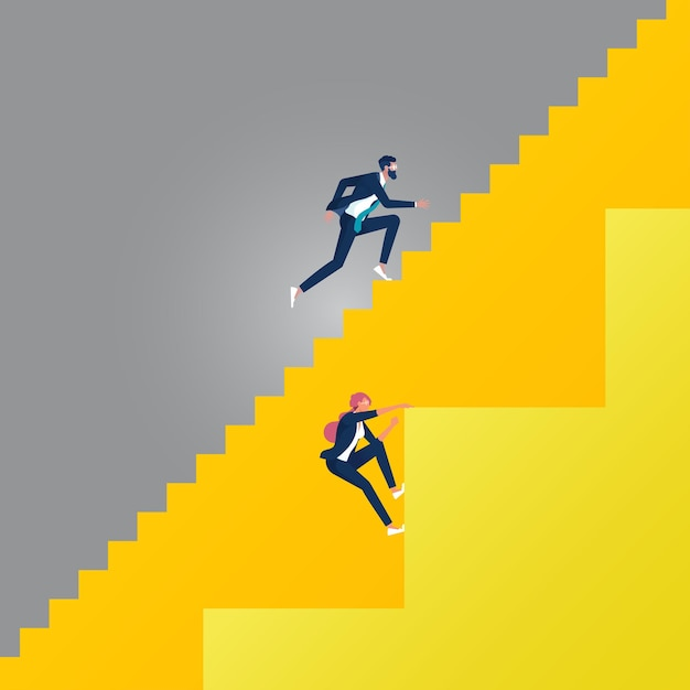 異なる階段でビジネスマンと実業家とのビジネスジェンダー不平等の概念。さまざまなキャリアの機会 Premiumベクター