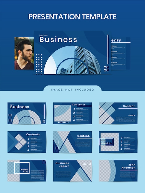 Business geometric powerpoint template with classic blue color Premium Vector