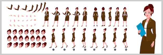 Business girl character model sheet with walk cycle animations and lip syncing Premium Vector