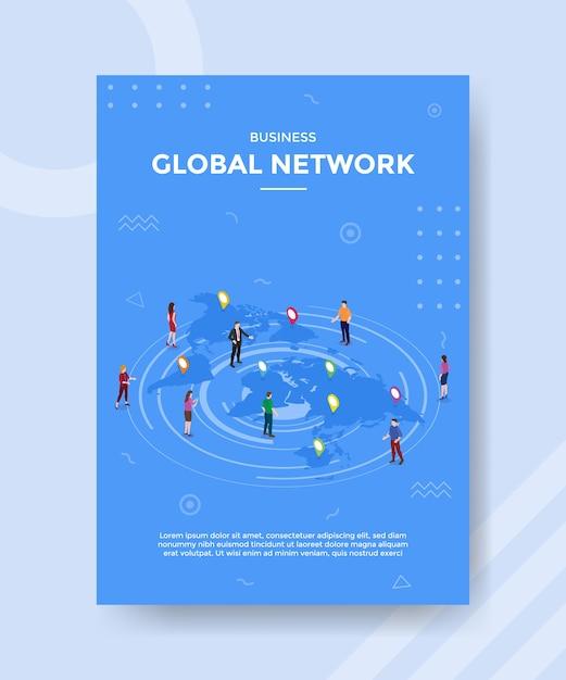 バナーとチラシのテンプレートのnマップの世界に立っているビジネスグローバルネットワークの人々 無料ベクター