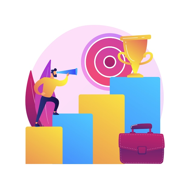Business goals setting. company development, increasing income, aiming for leadership. businessman income boosting determination. successful entrepreneur Free Vector