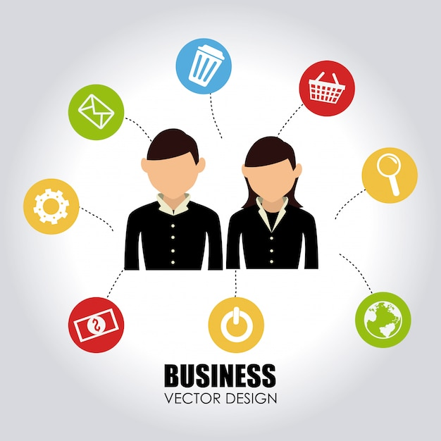 Business over gray Free Vector