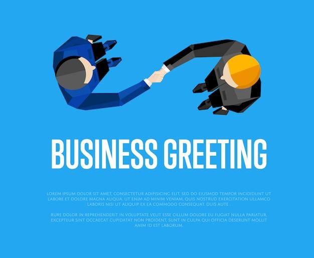 Бизнес приветствие шаблон, вид сверху партнеров рукопожатия Premium векторы