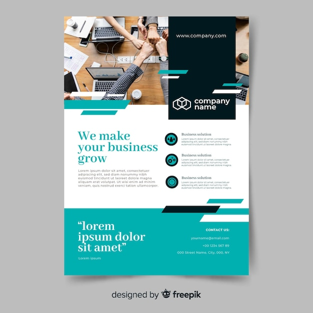 Business growth abstract flyer template Free Vector