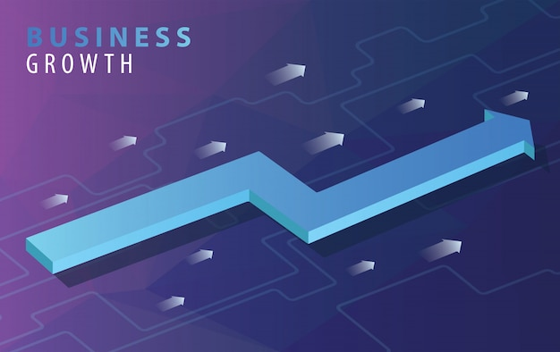Business growth concept with isometric arrows Premium Vector