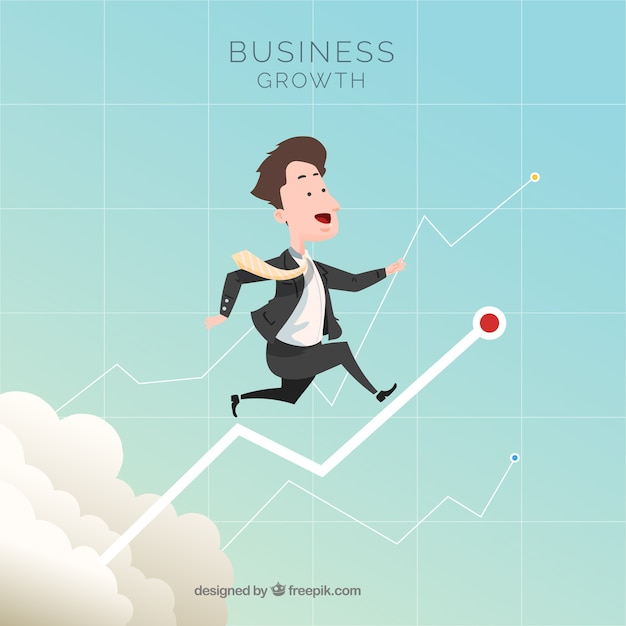 Business growth concept with man in sky Free Vector