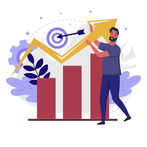 ビジネス成長フラットイラスト。販売管理プロセスとビジネス見通しのカラーデザイン。グラフと矢印を持つ人は、白い背景で隔離のカラフルな比喩を行きます。 Premiumベクター